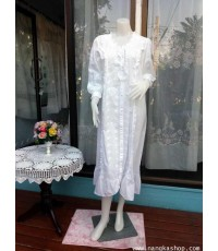 ชุดนอนผ้า cotton สีขาว