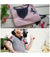 เสื้อยึดแขนสั้นน่ารัก สีชมพู(110-120)  สีน้ำเงิน(หมด)