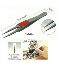 ทวิสเซอร์เคลือบฟลูออรีนที่จับหุ้มยาง Rubber Grip Fluorine Stainless Steel Tweezer-Trusco