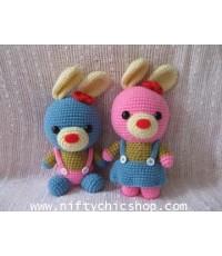 ตุ๊กตา ตุ๊กตาถัก ไหมพรม กระต่ายน้อยคู่รัก