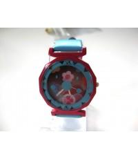 นาฬิกาแฟชั่น นาฬิกาข้อมือ สายหนังแก้วสีฟ้า รูปยิ้ม ราคาถูก