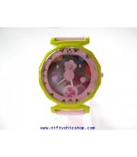 นาฬิกาแฟชั่น นาฬิกาข้อมือ สายหนังแก้วสีชมพู รูปยิ้ม ราคาถูก