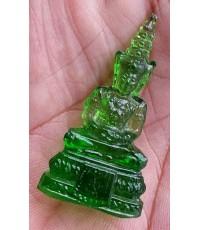 พระแก้วมรกต ขนาดห้อยคอ เนื้อแก้วสีเขียว พิธี 25พุทธศตวรรษ สภาพสวย