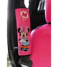 หุ้มเข็มขัดนิรภัยมินนี่เมาส์พิงค์แพคคู่ Minnie mouse สินค้าลิขสิทธิ์แท้ ราคาพิเศษ