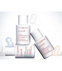 Pre-order : Clarins UV Plus Anti-Pollution SPF50/PA++++ 30ml. ~ Fairness สีฟ้า ช่วยลดผิวหมองคล้ำ