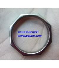 แหวนพระราหูมงคล 8 ทิศ เนื้อสัมฤทธิ์ชุบแบล็คโรเดียม  พระอาจารย์เล็ก วัดถ้ำเขาน้อย
