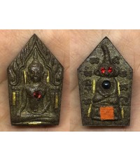 พระขุนแผนหลังงั่งตาแดง เนื้อผงไม้ตะเคียน ตะกรุดทองคำ รุ่นมั่งมีเงินทอง หลวงปู่คีย์  วัดศรีลำยอง 2554