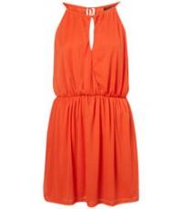 Purple Split Neck Halter Dress - ORANGE