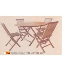 ชุดโต๊ะพับไม้สักทรงแปดเหลี่ยม พร้อมเก้าอี้ 4 ที่นั่ง SET4
