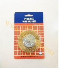 แปรงลวดทองเหลืองมีแกน ขนาด 4 นิ้ว x 6 มม PHOENIX