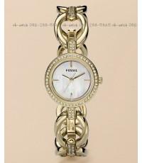 นาฬิกา Fossil Watch ES2844 Lady\'s Gold-Tone Circular Link Watch