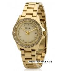 นาฬิกาข้อมือ Fossil รุ่น AM4453 Fossil Retro Traveler Three Hand Stainless Steel Watch Gold-Tone