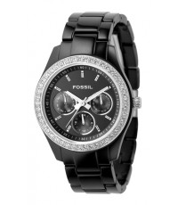 นาฬิกาข้อมือ Fossil รุ่น ES2157 Stella Multifunction Resin Watch - Black with Stones