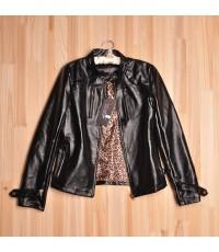 เสื้อแจ็กเก็ตหนัง พร้อมส่ง ตัวสั้น ไม่มีปก แขนยาว ซิปหน้า สีดำ สุดเท่ห์ [MK-0685]