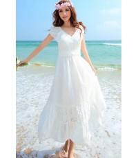 MAXI DRESS ชุดเดรสยาว พร้อมส่ง สีขาว คอวี แขนตุ๊กตาน่ารักๆ MK2998