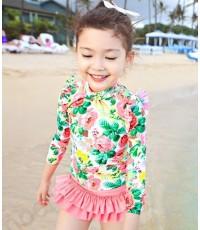 ชุดว่ายน้ำเด็กผู้หญิง สไตล์เกาหลี ลายดอกไม้ สีเหลือง/ชมพู 5115