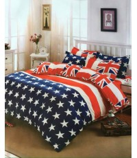 ชุดผ้านวม ผ้าปูที่นอน เกรดพรีเมี่ยม  ขนาด 6 ชิ้น  ชุดผ้านวม ลายธงชาติ