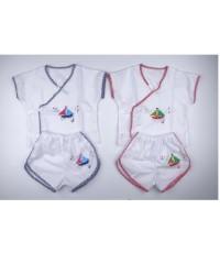 ชุดเด็กอ่อน ชุดผ้าป่านเด็กชาย เซต 2 ชุด ฟรีไซส์สำหรับทารก 0-6เดือน