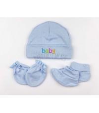 เซตหมวกถุงมือถุงเท้าเด็กอ่อน 3 เซต สีฟ้า