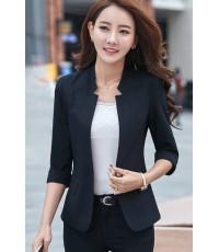 เสื้อสูทแฟชั่น เสื้อสูทสำหรับผู้หญิง พร้อมส่ง สีดำ คอวี แต่งเว้าช่วงคอเสื้อ MK3647