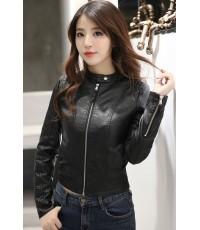 เสื้อแจ็คเก็ต เสื้อหนังแฟชั่น พร้อมส่ง สีดำ คอจีน ตัวสั้น หนังด้าน ดีเทลซิบรูดปลายแขนเก๋ MK3356