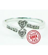 R912 แหวนเพชร ดีไซน์หัวใจสองดวง