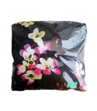 หมอนผ้าห่มแบบไม่มีซิป ผ้าซาตินแท้ 330 เส้น ขนาด 35 นิ้ว x 55 นิ้ว พื้นดำ ลายซากุระหลากสี
