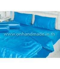 ผ้านวมคู่ ผ้าเครปซาติน 220 เส้น ขนาด 6 ฟุต สีฟ้า