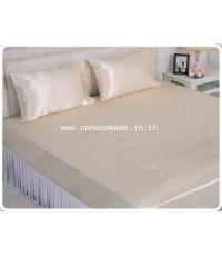 ผ้าปูที่นอนผ้าซาตินแท้ 380 เส้น ขนาด 6 ฟุต 3 ชิ้น