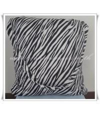 หมอนผ้าห่มแบบไม่มีซิป ผ้าซาตินแท้ 330 เส้น ขนาด 44 นิ้ว x 60 นิ้ว ลายทางม้าลาย (ขาว-ดำ)