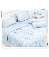 ผ้าปูที่นอนผ้าซาตินแท้ 440 เส้น ขนาด 6 ฟุต ลายดอกไม้คลาสิคฟ้า