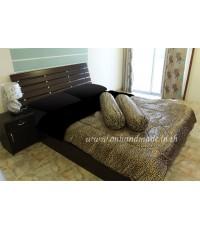 ผ้านวมคลุมเตียงทูโทน ผ้าซาตินแท้ ขนาด 90 นิ้ว x 100 นิ้ว ลายเสือดำเล็กน้ำตาลอ่อน (330) และสีดำ (440)