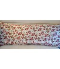 ปลอกหมอนบอดี้ ผ้าซาตินแท้ 330 เส้น ขนาด 20x48 นิ้ว พื้นขาว ลายกุหลาบเล็ก (ชมพู)