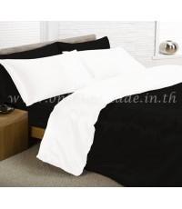 ผ้านวมคลุมเตียงทูโทน ผ้าซาตินแท้ 440 เส้น ขนาด 6 ฟุตพิเศษ (ขนาด 90 นิ้ว x 100 นิ้ว) สีขาว-ดำ
