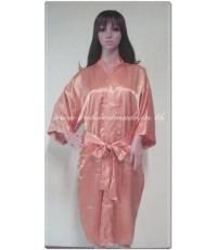 เสื้อคลุมชุดนอน ผ้าซาตินแท้ สีส้มโอรส