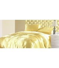 ผ้านวมคลุมเตียงไมโคร ผ้าซาตินแท้ 440 เส้น ขนาด 6 ฟุตพิเศษ (ขนาด 90 นิ้ว x 100 นิ้ว) สีทองสว่าง