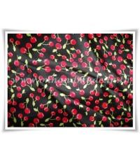 ปลอกผ้านวมผ้าซาตินแท้ 330 เส้น ขนาด 3.5 ฟุต (60 นิ้ว x 80 นิ้ว) พื้นดำ ลายเชอรี่