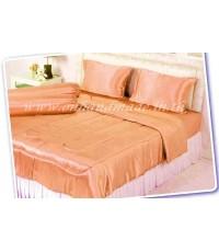 ผ้าปูที่นอนผ้าซาตินแท้ 440 เส้น ขนาด 6 ฟุต สีส้มโอรส