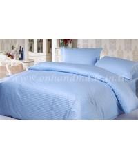 ปลอกผ้านวมผ้าซาตินแท้ 440 เส้น (ลายริ้ว) ขนาด 6 ฟุต (90 นิ้ว x 100 นิ้ว) สีฟ้า