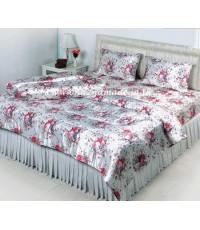 ผ้าปูที่นอนผ้าซาตินแท้ 330 เส้น ขนาด 5 ฟุต พื้นขาว ลายช่อดอกไม้ใหญ่ (ห่าง)