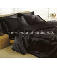 ผ้าปูที่นอนและผ้านวม ผ้าซาตินแท้ 660 เส้น ขนาด 5 ฟุต (6 ชิ้น) สีดำ