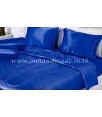 ผ้านวมคลุมเตียง ผ้าซาตินแท้ 440 เส้น ขนาด 6 ฟุตพิเศษ (ขนาด 90 นิ้ว x 100 นิ้ว) สีน้ำเงิน