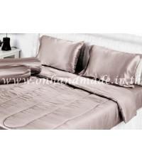 ผ้านวมคลุมเตียง ผ้าซาตินแท้ 440 เส้น ขนาด 6 ฟุตพิเศษ (ขนาด 90 นิ้ว x 100 นิ้ว) สีน้ำตาลเบส