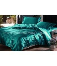 ผ้านวมคลุมเตียง ผ้าซาตินแท้ 440 เส้น ขนาด 6 ฟุตพิเศษ (ขนาด 90 นิ้ว x 100 นิ้ว) สีเขียวประกายมุก