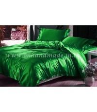 ผ้านวมคลุมเตียง ผ้าซาตินแท้ 440 เส้น ขนาด 6 ฟุตพิเศษ (ขนาด 90 นิ้ว x 100 นิ้ว) สีเขียวหยก
