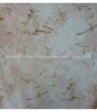 ปลอกผ้านวมผ้าซาตินแท้ 440 เส้น ขนาด 6 ฟุต (90 นิ้ว x 100 นิ้ว) ลายดอกลิลลี่โอรสอ่อน
