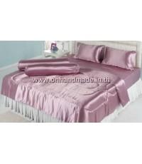ผ้าปูที่นอนผ้าเครปซาติน 220 เส้น ขนาด 3.5 ฟุต สีชมพูกะปิ