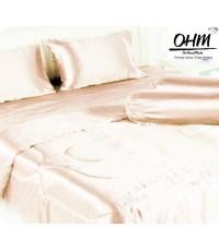 ผ้าปูที่นอนผ้าเครปซาติน 220 เส้น ขนาด 3.5 ฟุต สีโอรสอ่อน