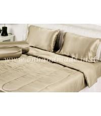 ผ้านวมคลุมเตียง ผ้าซาตินแท้ 440 เส้น ขนาด 6 ฟุตพิเศษ (ขนาด 90 นิ้ว x 100 นิ้ว) สีทองน้ำตาลอ่อน