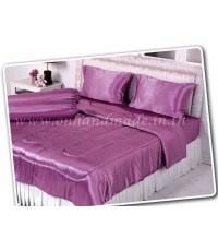 ผ้านวมคลุมเตียง ผ้าซาตินแท้ 440 เส้น ขนาด 6 ฟุตพิเศษ (ขนาด 90 นิ้ว x 100 นิ้ว) สีชมพูกลีบบัว
